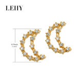 Brincos de cristal Gold-Tone do costume do parafuso prisioneiro dos brincos do Rhinestone da jóia da forma da mulher