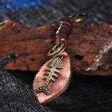 De westelijke PunkFishbone van de Legering van de Stijl Antieke Brons Geplateerde Zeer belangrijke Ketting van het Leer van de Tegenhanger van de Vorm