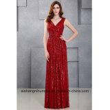 Langer Stutzen-Sleeveless Abschlussball-Kleid des Sequin-Abend-Kleid-Doppelt-V