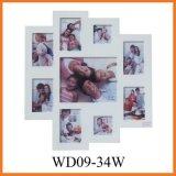 9 Открытие деревянные белый коллаж Photo Frame стены искусства (WD09-34W)