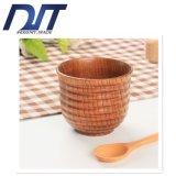 顧客用創造的な踏面の滑り止めの絶縁体の自然な木製のコップ