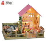 Het miniatuur Houten Model van de Woningbouw van het Stuk speelgoed DIY Voor de Gift van de Verjaardag