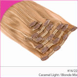 Оптовый индийский зажим человеческих волос Remy волос в выдвижении волос