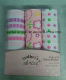 100% Knitting machine Printed Baby Flannel Wrap, 3PCS Per Set