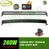 barra ligera combinada curvada 240W de la viga 40inch 5D LED para el jeep