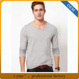 Longs T-shirts de chemise de qualité de coton fait sur commande d'hommes