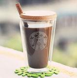 400ml Pyrexガラスのコーヒー・マグのハンドメイドの二重壁のガラスコーヒーカップ