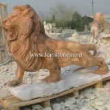 Granito Stone Animal Statue Lion Carving Sculpture per il giardino