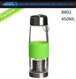 Bottiglia di acqua di vetro BPA-Libera con la protezione di vibrazione & il manicotto personalizzato del silicone