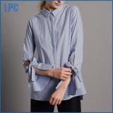 Chemise rayée de mélange de coton de mode pour des dames