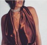 女性の贅沢な水晶チョークバルブのネックレスのラインストーンの吊り下げ式の宝石類のネックレス