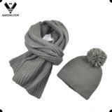 Unisex чисто зима цвета толщиной связала акриловыми смешанный шерстями шлем шарфа