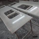 Bancada de superfície contínua acrílica da cozinha com a bacia dois