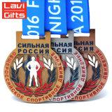 Promoción barata de recuerdos personalizada ejecutando Premio Medalla de acero inoxidable
