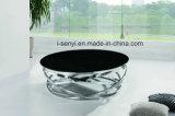 Мода конструкции из закаленного стекла верхняя крышка из нержавеющей стали для приготовления кофе круглый стол в гостиной мебели