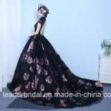 Vestidos de noite Z1016 do partido do laço da cor-de-rosa do preto do vestido de esfera do baile de finalistas da flora da impressão