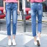 Красивый синий поломка стиральной джинсы с прямой ногой для леди (HDLJ0033-17)