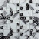 Py020 de Vervaardiging Gemengde Tegel van het Mozaïek van het Glas van de Ritselen van de Ijzel van de Kleur Witte