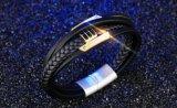 La fabbrica direttamente vende il catenaccio magnetico a più strati Bracelets&Bangles dei braccialetti intrecciato cuoio nero di modo
