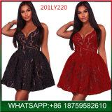 2018 Nuevo Diseño sexy señoras Negro noche una parte de la línea de vestidos de deslizamiento
