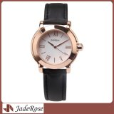 Edelstahl-klassische lederne Brücke-Uhr, Dame Dress Wristwatch