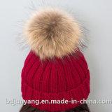 75g preiswerter gestrickte Hüte des Pelz-POM POM Acrylsauerbeanie