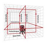 Línea cruzada líneas rojas nivel de la viga 8 del laser para examinar