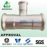 A qualidade superior da tubulação em Aço Inox Medidas Sanitárias Pressione Conexão para substituir as tampas dos tubos de plástico flexível Conexão PE conjunta