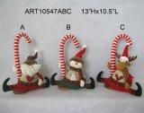 De Decoratie van het Huis van Kerstmis van het Riet van het suikergoed met Houten Basis