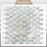 Salida de fábrica óvalo blanco mosaico de vidrio para la piscina mosaico