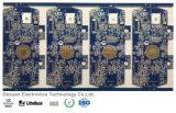 PWB da placa de circuito impresso Multilayer com máscara da solda e ouro azuis da imersão