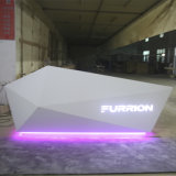 Büro-Empfang-Tisch des Fabrik-nach Maß fantastische Art gebogener Entwurfs-LED heller Corian