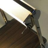 Moderner Entwurfs-hölzernes Furnier-Blatt und drehbare Metallgewebe-Farbton-Tisch-Lampe