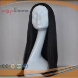Langes Menschenhaar-Schwarz-preiswerte maschinell hergestellte Perücke