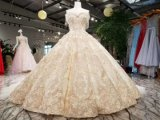 Vestido de casamento de cristal de vidro do trem destacável branco real de Champagne