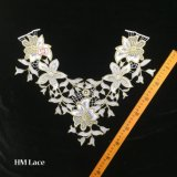 39*35cmの白い刺繍カラーレースの空の花の溶けるレースの襟足のアップリケのトリムのレースファブリック縫う供給Hme915