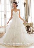 Robes de mariage gonflées Backless de Tulle de lacet de robes nuptiales de courroies de spaghetti Z2046