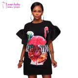 Le Flamingo volant manches blanc T-shirt graphique Dress L611