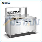 St12 2.0m Gong thé barre en acier inoxydable Table de travail avec double lavabo
