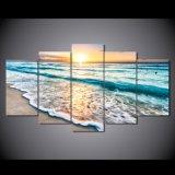La lona 5 de las impresiones de los cuadros HD del arte de la pared junta las piezas de ondas en la playa en el marco de la decoración del hogar de la sala de estar de los carteles del paisaje marino de las pinturas de la puesta del sol
