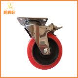 En acier inoxydable Roulette pivotante pour charges moyennes, TPR, roulette avec frein de roue, plancher de la cuisine Roulette Trolley