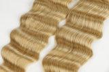 Цвет свободное глубокое 30inches волнистых человеческих волос белокурый