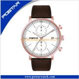 Relógio preto do cronógrafo do seletor com a faixa do couro genuíno