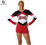 Superiori poco costosi progettano i manicotti per il cliente lunghi di forma fisica che Cheerleading l'usura del vestito per la donna