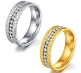 Nueva llegada de la moda de color oro/plata Anillo de acero inoxidable para la Mujer Diseño de la Gran Muralla de zirconio cúbico Anillo para boda