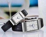 Rectangulaire Datum-automatische silberne Vorwahlknopf-Schwarz-Leder-Uhr