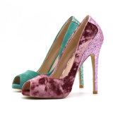 Africano impressão Mulheres salto alto vermelho Bottom Pumps Lady Shoes