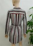 女性の方法衣類2017は軽くて柔らかいブラウスデザイン長い袖の偶然の女性のブラウスの縞の簡単なサリーのブラウスデザインを印刷した