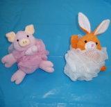 자연적인 사이살 삼 토끼 동물성 목욕 분첩 샤워 공 갯솜 장난감