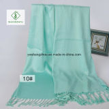 Châle occidental de plaine de satin de modèle avec Madame Fashion Scarf de frange